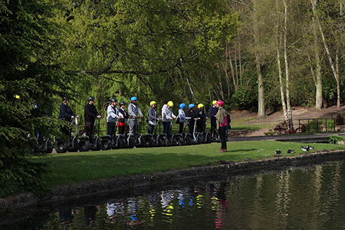 A group of people on a Leeds Castle Segway Tour