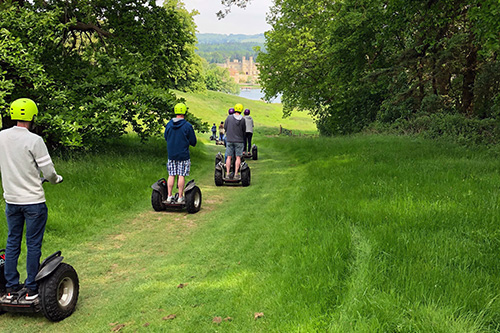 Segways with Leeds Castle backdrop